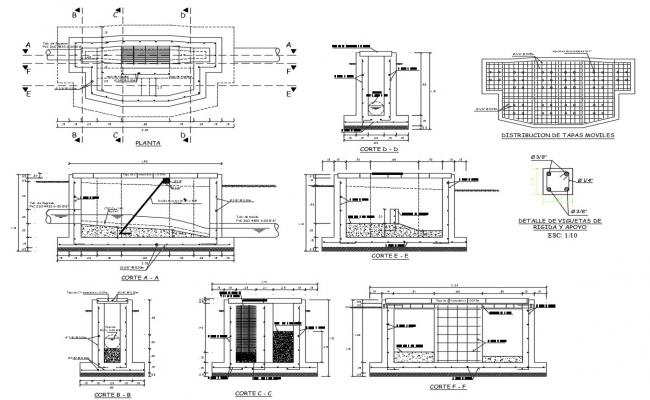Free Download RCC Water Tank Design With Plan and sections AutoCAD File