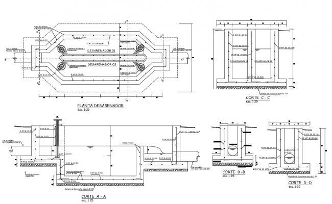 Free Download RCC Work Design Drawing Of Desarenador AutoCAD File