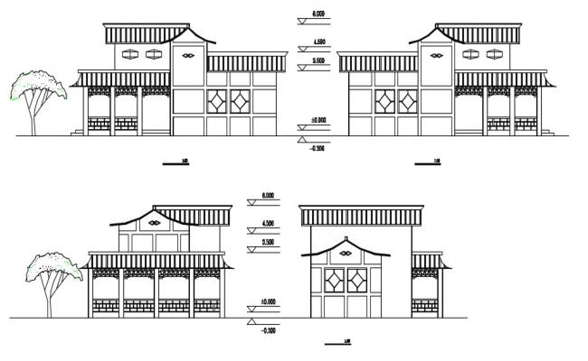 Free Download Residential Bungalow Elevation DWG File
