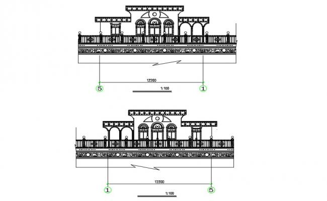 Free Download Residential Bungalow Traditional Elevation AutoCAD File