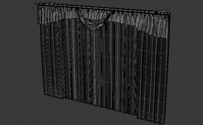 Free Download Stylish Curtain Design With MS Rod Rendered In 3D MAX File