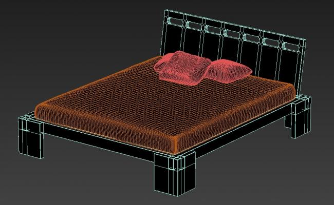 Free Download Wooden Bed With Basic Rendered In 3D Max File