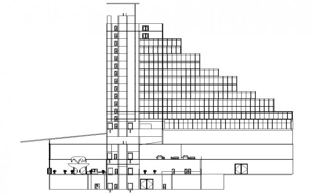 Free Hotel Section And Elevation DWG File