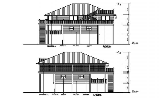 Free House Elevation Design DWG File