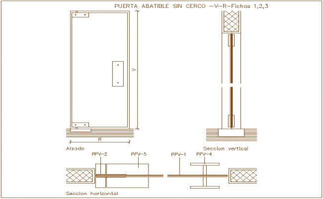 Folding door design view, horizontal & vertical section dwg file