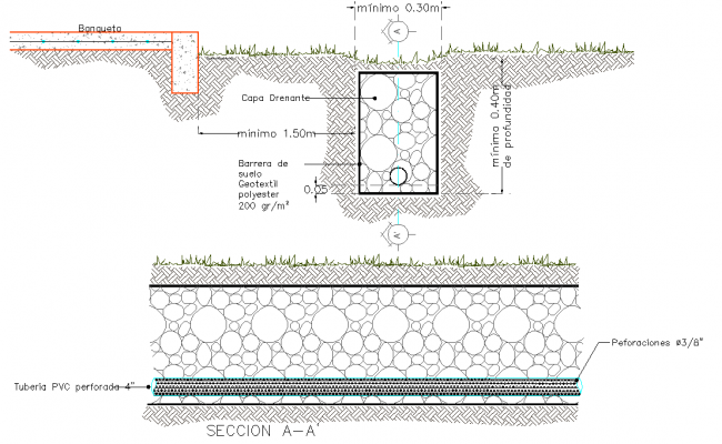 French Drain Plan And Section Layout File Cadbull