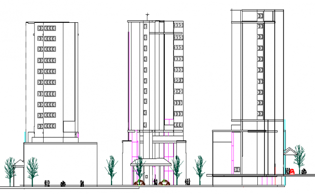 Front, back and side elevation of Residential housing building dwg file