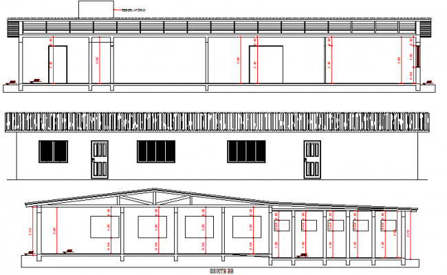 Front, back elevation and sectional view of one family house dwg file