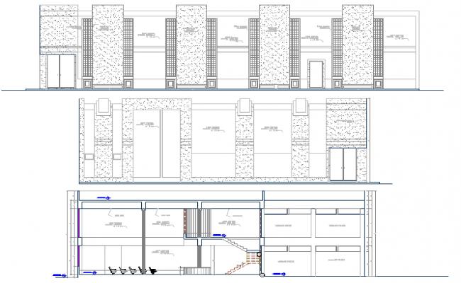 Front, back elevations & section details of finance center office dwg file