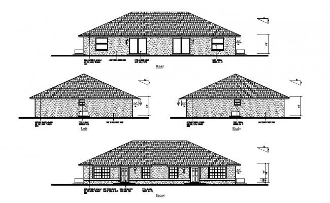 Front, left, right and rear side elevation details of single story house dwg file
