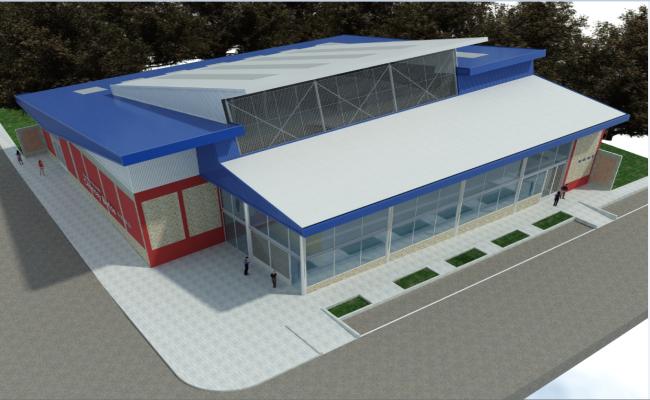 Front 3 D commercial building elevation plan detail dwg file