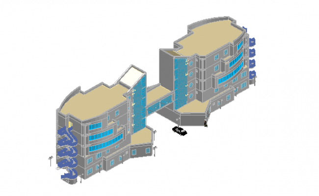 Front 3 D commercial elevation detail dwg file