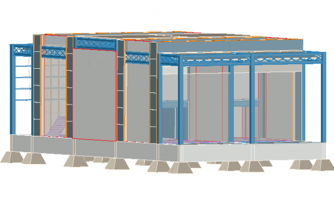 Front 3 D view detail dwg file