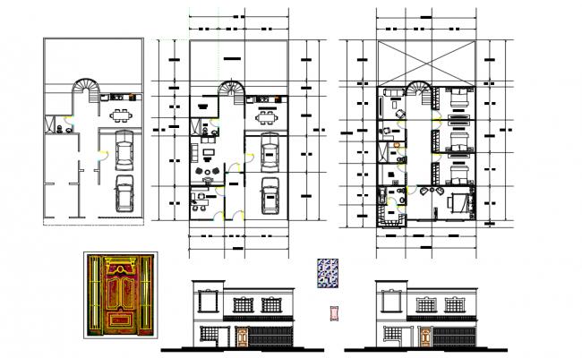 Front Door elevation and floor details of Bungalows dwg file