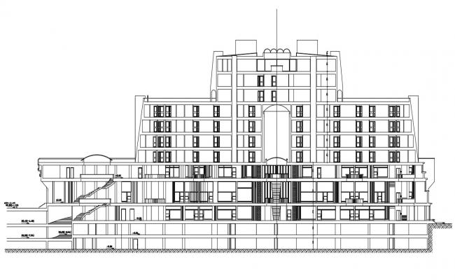 Front Elevation  For Commercial Building DWG.