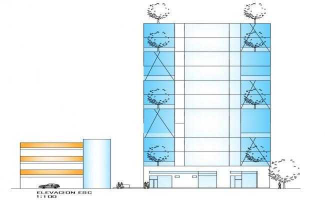 Front Elevation Of Office Building AutoCAD File