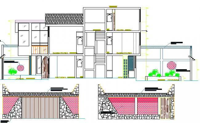 Front Elevation & Section Plan, Two Flooring Residential House dwg file