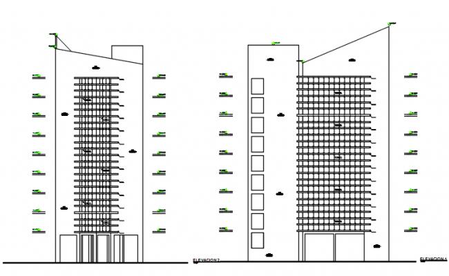 Front Elevation and back elevation detail dwg file