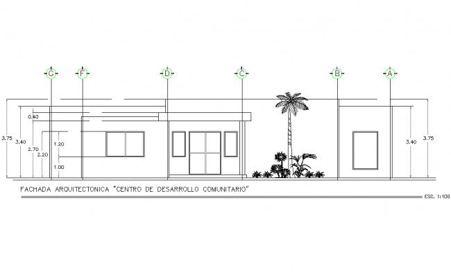 Front Elevation community development center detail