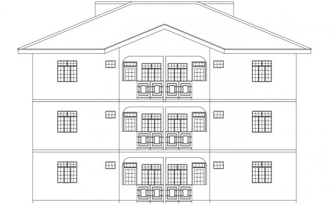 Front Elevation design of Apartment Building DWG File