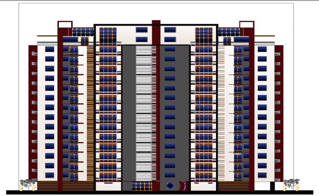 Building Front Elevation Staircase : Front elevation of high rise building dwg file