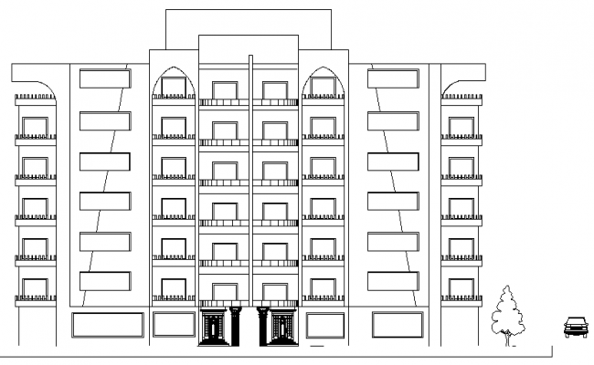 Front Elevation of Multi Family Housing Project dwg file.