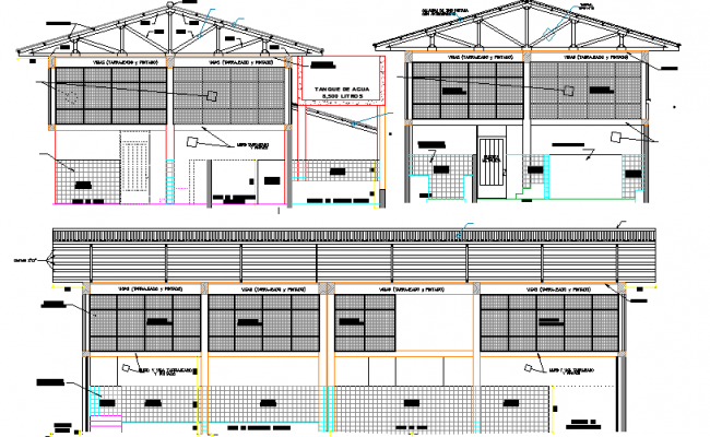 Front Elevation of Multi Purpose Industrial Plant dwg file