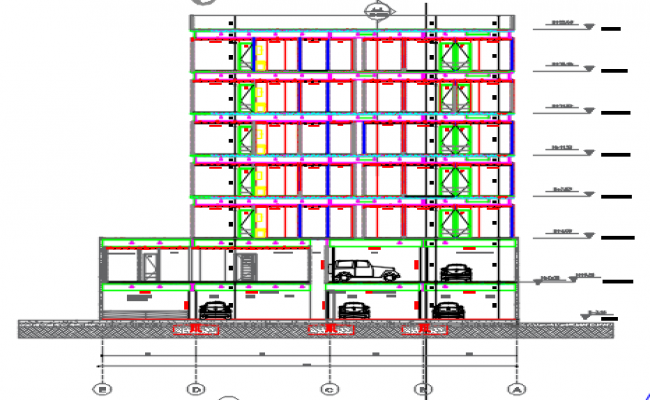 Front Elevation plan detail dwg file