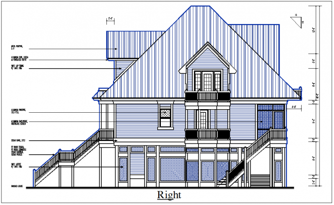 Front Elevation Autocad File : Front elevation view of bungalow detail dwg file