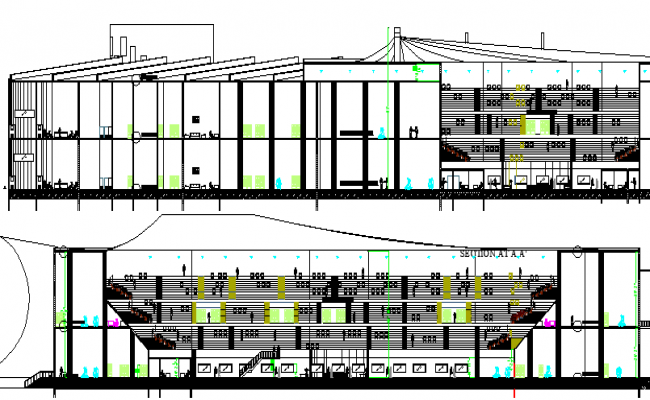 Front and Back Elevations of City Sports Center Architecture Design dwg file