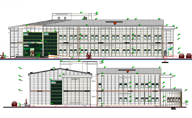 Front and back detailed elevation view of multi-flooring hospital dwg file