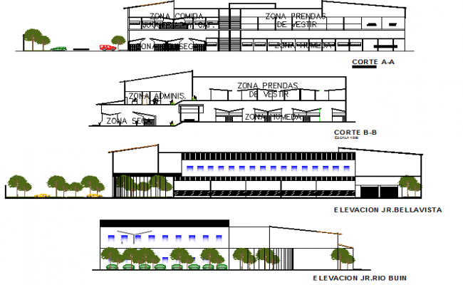 Front and back elevation and section view of shopping center dwg file