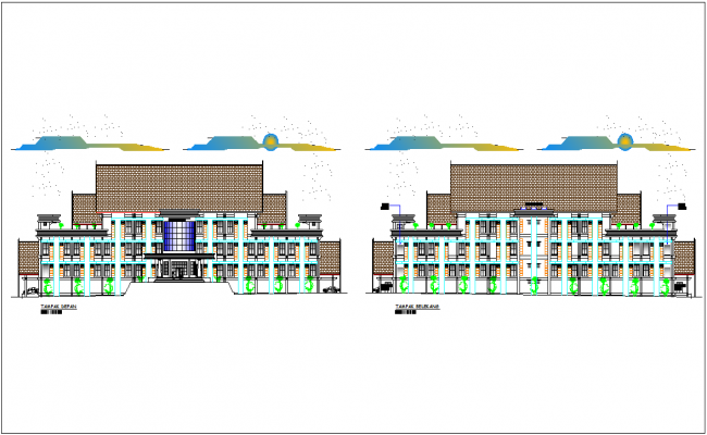 Front and back elevation for office of government with architectural view dwg file