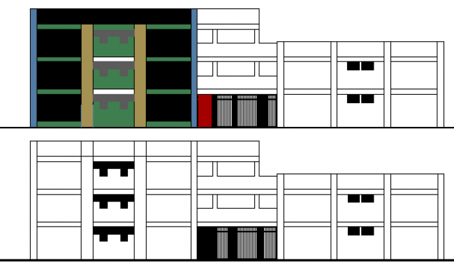 Front and back elevation of municipal office building dwg file