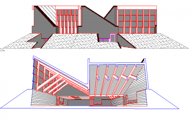 Front and back elevation of school reunion center project dwg file
