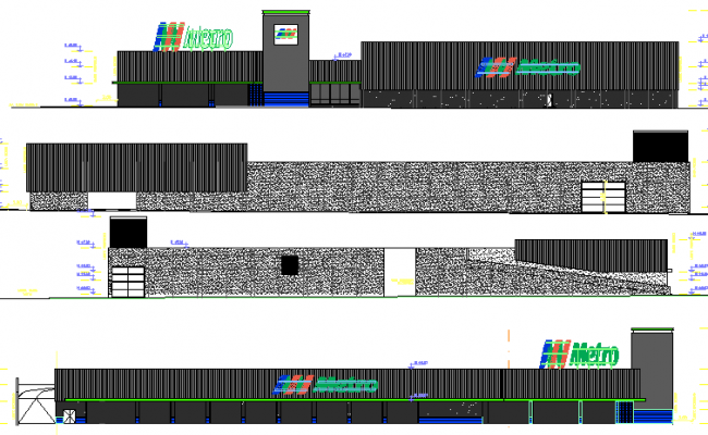 Front and back elevation view details of shopping center dwg file