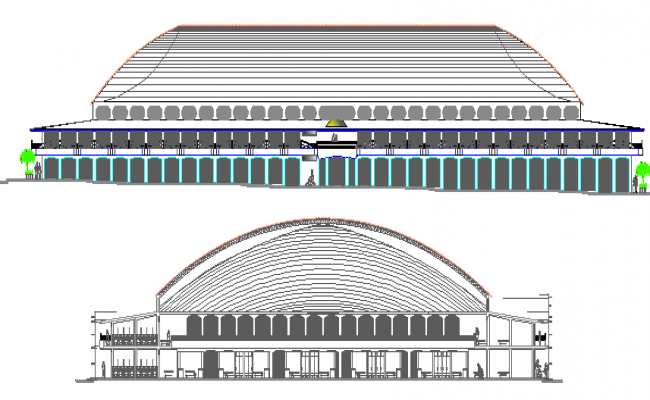 Front and back elevation view of commercial business center dwg file