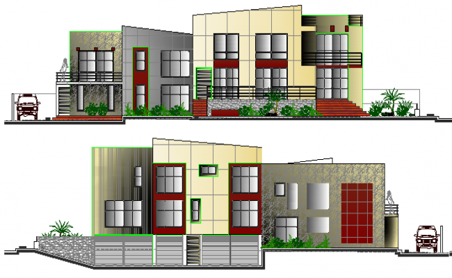 Front and back elevation view of two flooring villa dwg file
