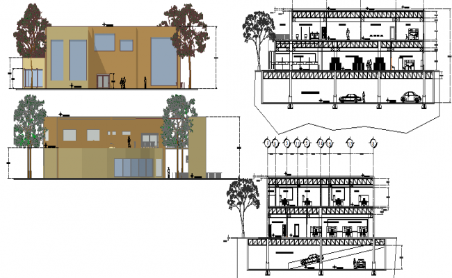 Front and back elevations and sections view of bank building dwg file
