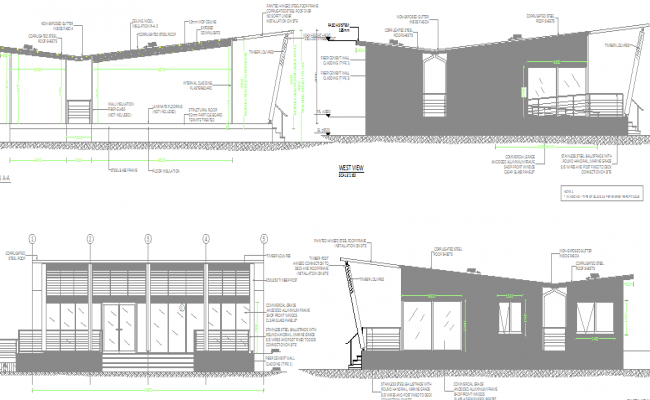 Front and back elevations and sections view of sales office dwg file
