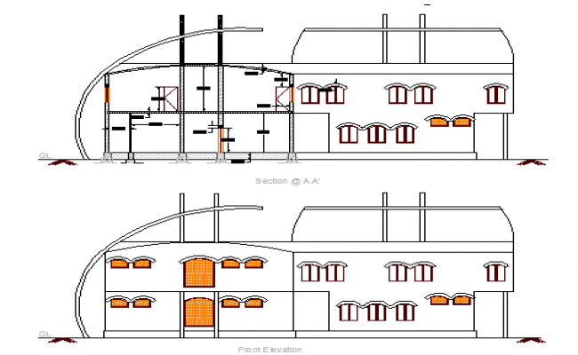 Front and back elevations of guest house for hospital staff dwg file