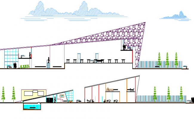 Front and back section of dairy plant dwg file