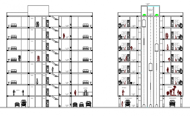 Front & back sectional view of Multi-flooring administration building dwg file