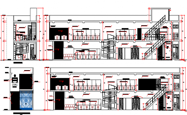 Front and back sectional view of administrative office dwg file