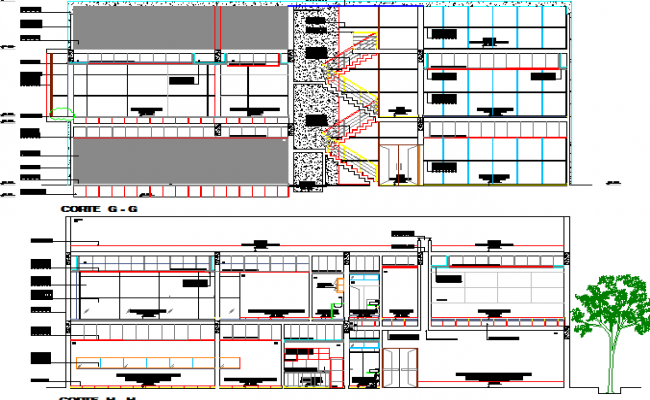 Front and back sectional view of office building dwg file