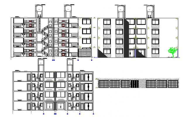 Front and back sectional view with main elevation of housing building dwg file