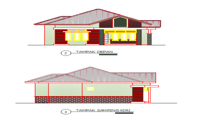 Front and left side elevation design drawing of single family house design drawing
