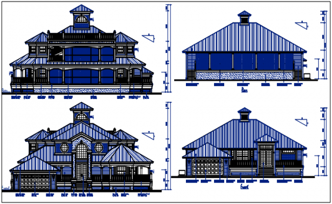 Front & rear elevation naming dimension, bungalow details dwg files