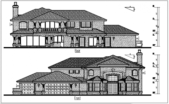 Front and rear elevation plan view detail dwg files