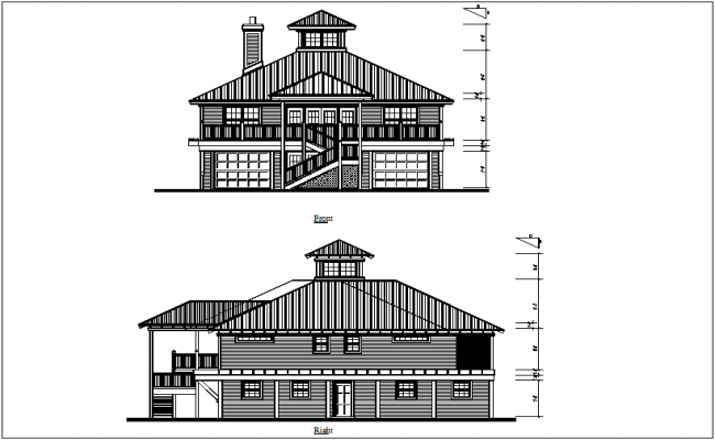 Front and rear view of bungalows dwg file